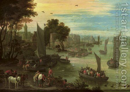 A river landscape with numerous figures in sailing boats, fishermen gathered around their catch in the foreground, a town beyond by Mathys Schoevaerdts - Reproduction Oil Painting