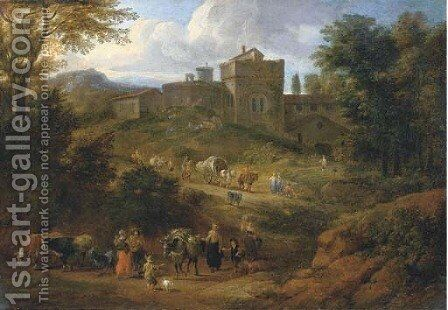 An Italianate landscape with travellers on a hilly path near a villa by Matthys Schoevaerts - Reproduction Oil Painting