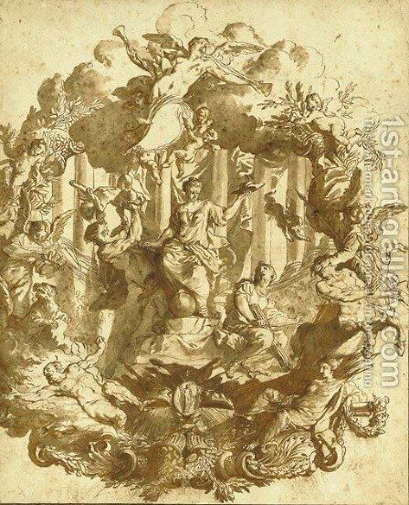 Study for a wall decoration a seated allegorical female figure holding a Cardinal's hat surrounded by Peace and figures trampling Heresy and War by Matthaus Terwesten - Reproduction Oil Painting