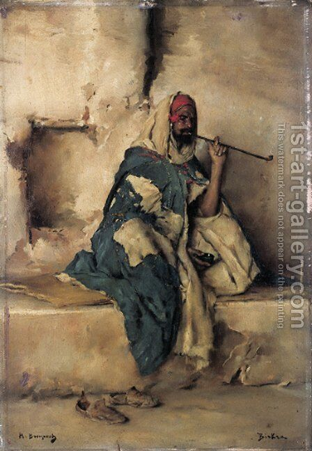 Algerian smoker by Maurice Bompard - Reproduction Oil Painting