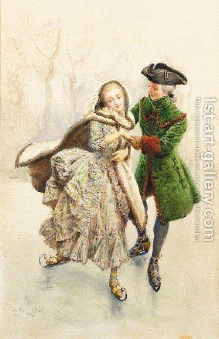 Une romance en hiver by Maurice Leloir - Reproduction Oil Painting