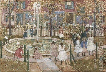 Courtyard, West End Library, Boston by Maurice Brazil Prendergast - Reproduction Oil Painting