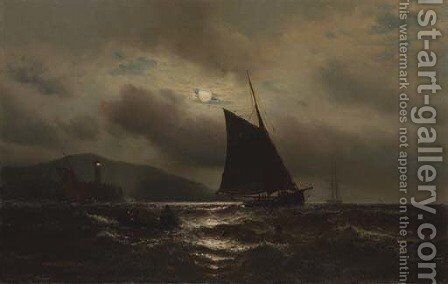 Night Fishing on the Hudson by Mauritz F. H. de Haas - Reproduction Oil Painting