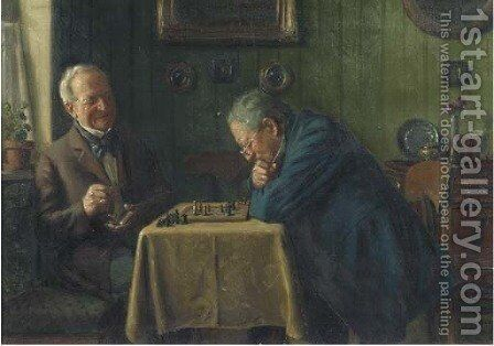 Head-to-head a game of chess by Max Barascudts - Reproduction Oil Painting