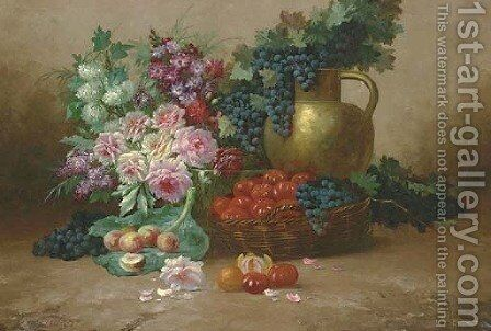 Still Life with Flowers, Fruits, Vegetables and a Copper Jug by Max Carlier - Reproduction Oil Painting