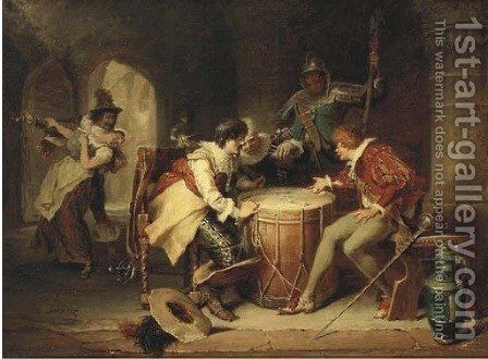 Soldiers gambling by Max Gaisser - Reproduction Oil Painting