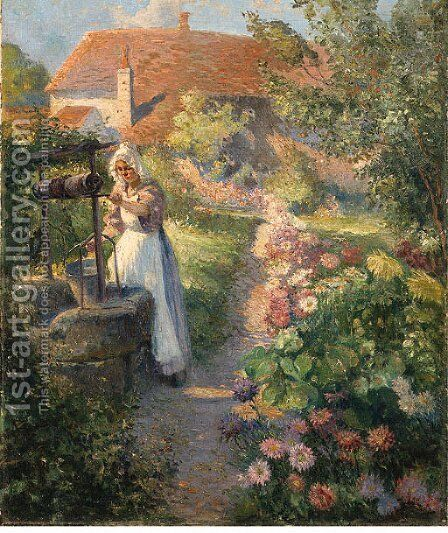 In the garden by Max Silbert - Reproduction Oil Painting