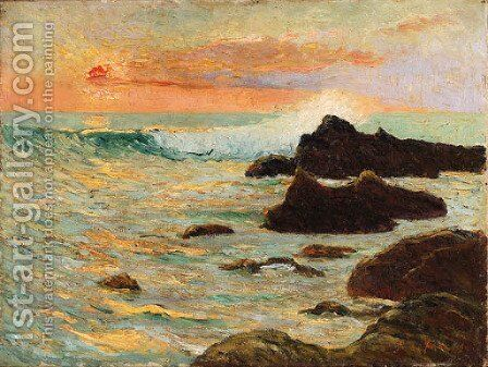 Les recifs (Cote de Bretagne), effet de soleil couchant by Maxime Maufra - Reproduction Oil Painting