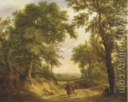 On a forest path in summer by Maximilien Lambert Gelissen - Reproduction Oil Painting