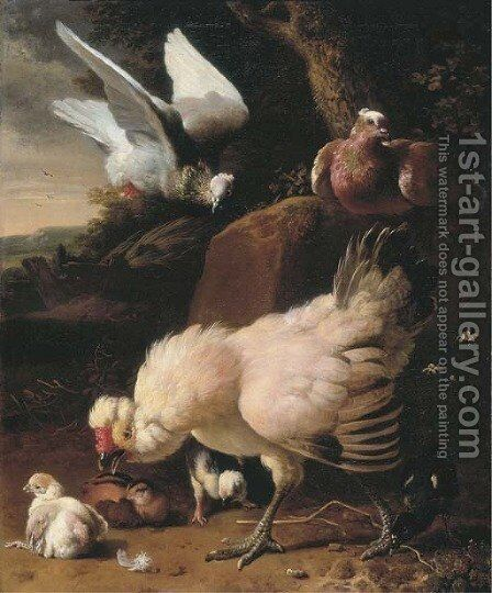 A chicken, chicks and pigeons on a fence, in a landscape by Melchior D'Hondecoeter - Reproduction Oil Painting