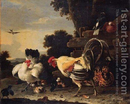 A hen protecting her chickens against a cockerell by Melchior D'Hondecoeter - Reproduction Oil Painting