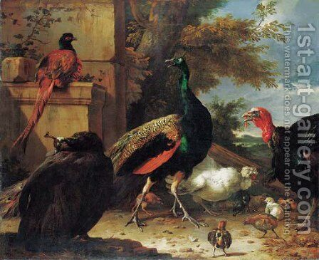 A peacock, a peahen, a pheasant, a turkey, a cockerel and chicks by a wall, a landscape beyond by Melchior de Hondecoeter - Reproduction Oil Painting