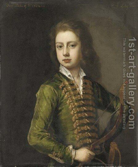Portrait of a young gentleman, half-length, in a green coat, with gold frogging, holding a bow in his left hand by Michael Dahl - Reproduction Oil Painting