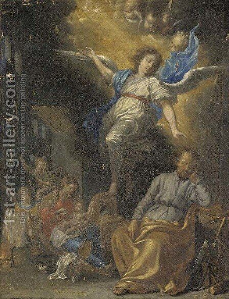 An Angel appearing to the Holy Family by Michel Bouillon - Reproduction Oil Painting