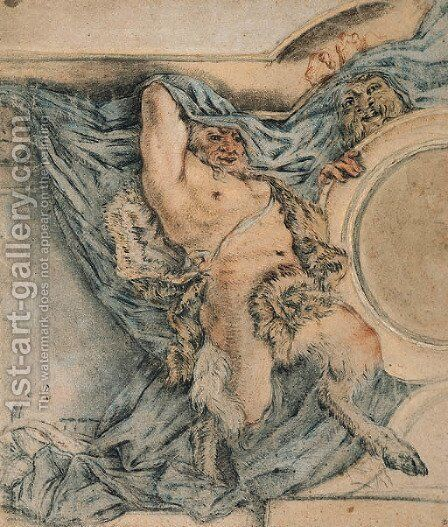 A Satyr holding up a Drapery Design for a Ceiling by Michel Dorigny - Reproduction Oil Painting