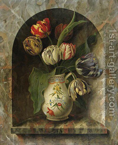 Parrot Tulips in a Jug on a stone Ledge in an Alcove by Michel Joseph Speckaert - Reproduction Oil Painting