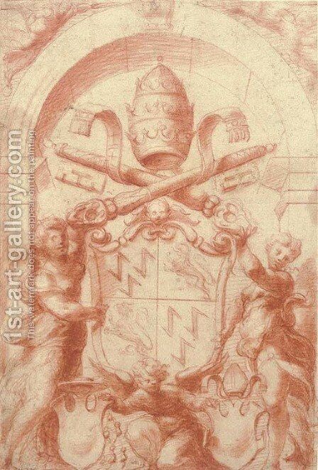 The Arms of Pope Adrian VI by Michelangelo Anselmi - Reproduction Oil Painting