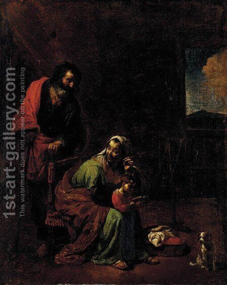The Education of the Virgin by Michelangelo Cerquozzi - Reproduction Oil Painting