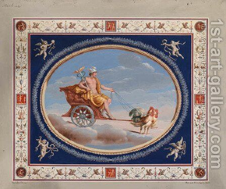 Mercury in a Chariot drawn by Cockerels by Michelangelo Maestri - Reproduction Oil Painting
