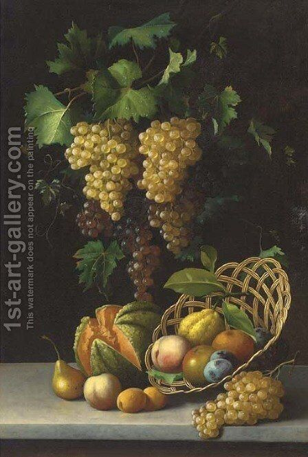 A cornucopia of fruit by Michaelangelo Meucci - Reproduction Oil Painting