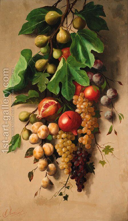 A branch of figs with grapes, plums and pomegranates by Michaelangelo Meucci - Reproduction Oil Painting