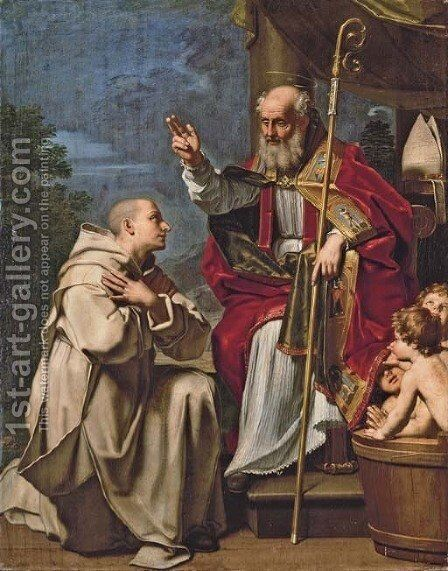 Saint Nicholas with the three school children and a Carthusian monk by Michele Desubleo - Reproduction Oil Painting