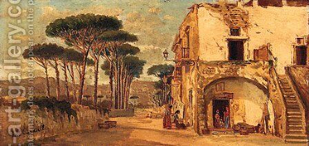 Figures in an Italian Village by Michele Giardiello - Reproduction Oil Painting