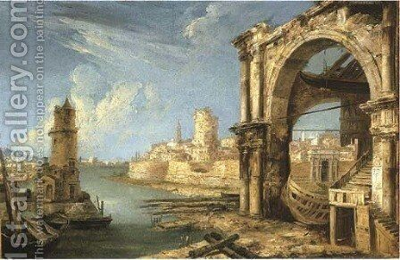 A capriccio of Roman buildings with a shipyard by a lagoon by Michele Marieschi - Reproduction Oil Painting