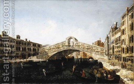 The Rialto Bridge, Venice, from the South, with the Fondamenta del Vin and the Fondamento del Ferro and numerous gondolas and barges by Michele Marieschi - Reproduction Oil Painting
