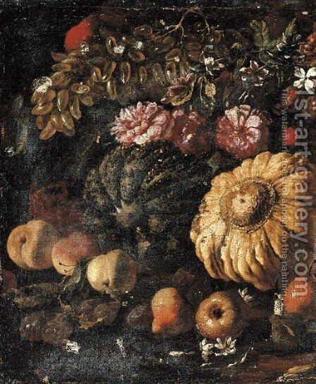 Two pumpkins, grapes, peaches and pears, roses and other flowers in a landscape by Michele Pace Del (Michelangelo di) Campidoglio - Reproduction Oil Painting