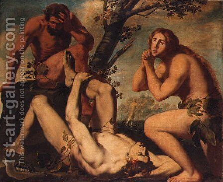 Adam and Eve lamenting the death of Abel by Michele Ragolia - Reproduction Oil Painting