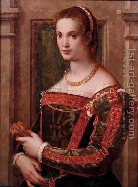 Portrait of a lady, half-length, in a green silk dress with gold trim, holding a glove by Michele di Ridolfo del Ghirlandaio (see Tosini) - Reproduction Oil Painting