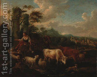 A drover with cattle, sheep and a dog fording a stream in an Italianate landscape by Michiel Carree - Reproduction Oil Painting