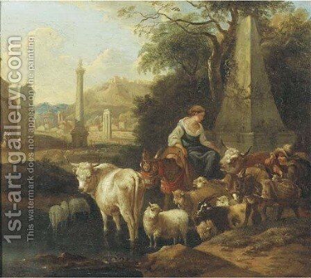 An Italianate landscape with shepherds and their cattle by a fountain by Michiel Carree - Reproduction Oil Painting