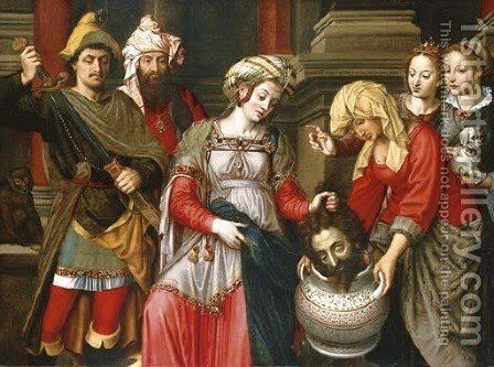 Queen Tomyris with the head of Cyrus by Michiel Van Coxcie - Reproduction Oil Painting