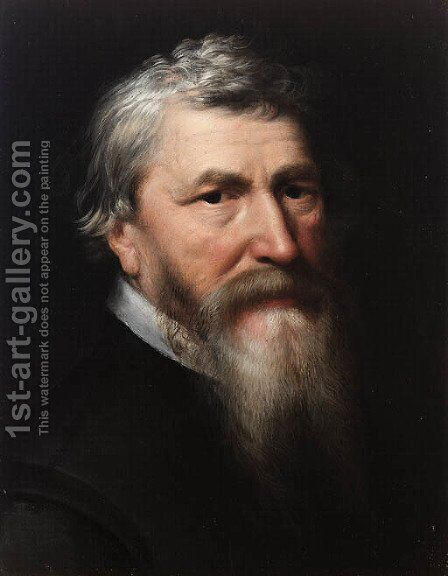 Portrait of a bearded Gentleman, bust length, in a black jacket, thought to be Lubbert Gerritsz. (1535-1612) by Michiel Jansz. Van Miereveldt - Reproduction Oil Painting