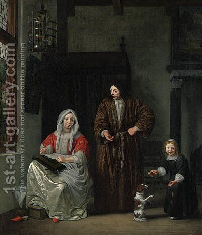 An elegant Family with a Dog in an Interior by Michiel van Musscher - Reproduction Oil Painting