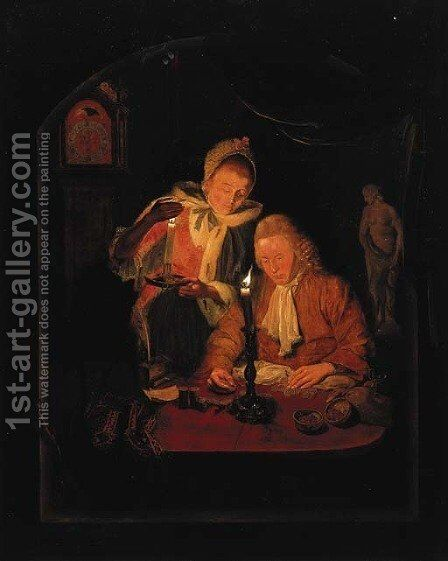 An elegant couple counting money by candlelight, at a stone niche by Michiel Versteegh - Reproduction Oil Painting