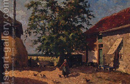 Feeding The Chickens In A Farmyard by Mihaly Munkacsy - Reproduction Oil Painting