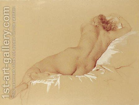 Reclining nude by Mihaly von Zichy - Reproduction Oil Painting