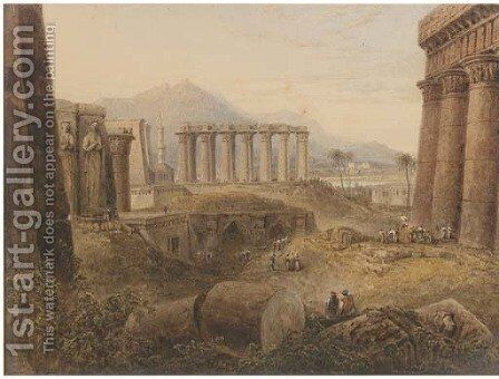 Ruins at Thebes, Egypt by Milo De Ros - Reproduction Oil Painting