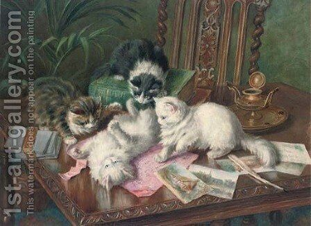 Mischievous kittens at play by Minnie Rosa Bebb - Reproduction Oil Painting