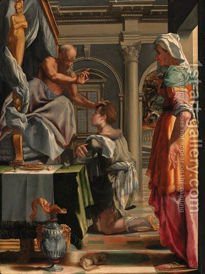 Isaac blessing Jacob by Mirabello Cavalori (Salincorno) - Reproduction Oil Painting