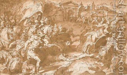 The armies of Pietro Farnese at the Relief of Bologna by Mirabello Cavalori (Salincorno) - Reproduction Oil Painting