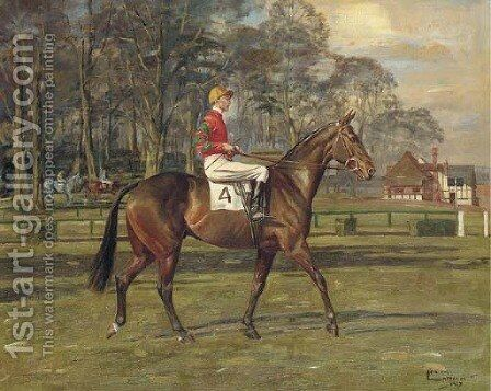 A racehorse with jockey up by Molly M. Latham - Reproduction Oil Painting
