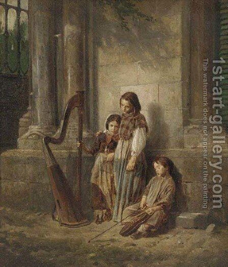 The little musicians by Jaime Morera y Galicia - Reproduction Oil Painting
