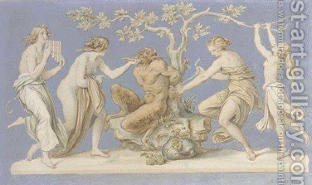 Four nymphs tying Pan to a tree by Moritz Ludwig von Schwind - Reproduction Oil Painting