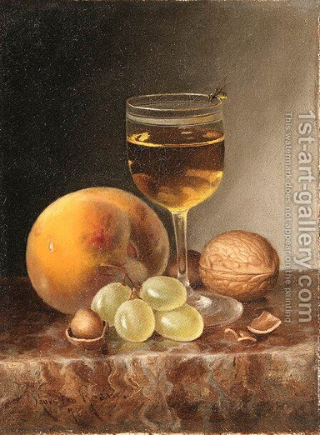 Still Life with Fruit, Wine and Nuts by Morston Constantine Ream - Reproduction Oil Painting