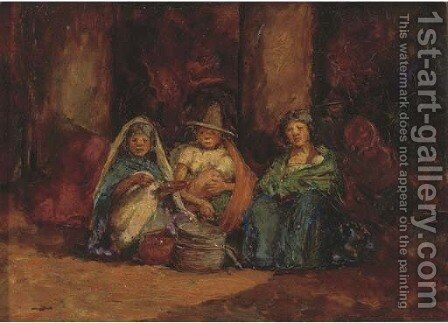 Indian Women Selling in a Market Place, Mexico by Mortimer Luddington Mempes - Reproduction Oil Painting