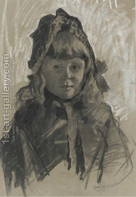 Portrait of a girl wearing a bonnet and a cape by Mose Bianchi Di Giosue - Reproduction Oil Painting